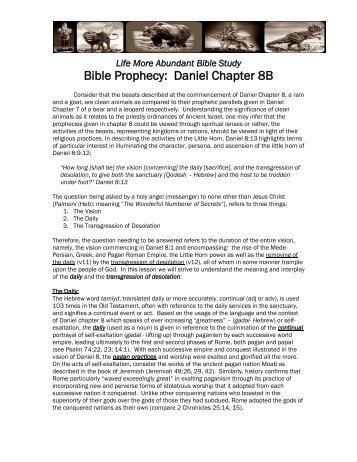 Bible Prophecy: Daniel Chapter 8B - Life More Abundant