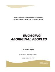 engaging aboriginal peoples - North East Local Health Integration ...