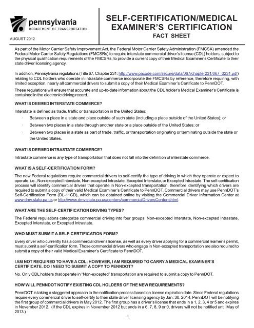 Self-Certification Medical Examiners Certification Fact Sheet