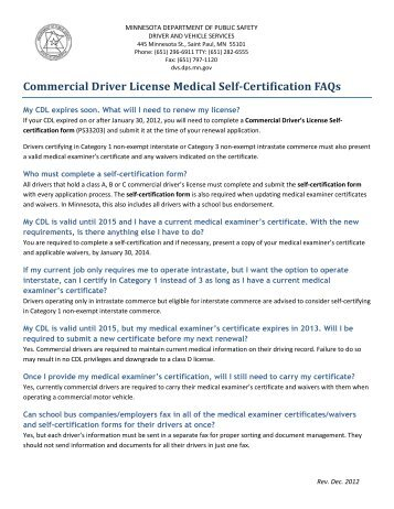 CDL SELF-CERTIFICATION FORM - Registry of Motor Vehicles