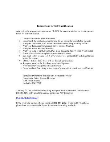Self Certification Medical Examiners Certification Fact Sheet