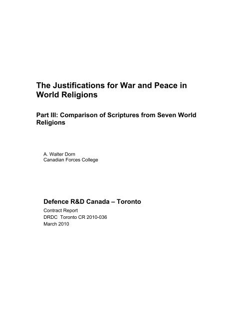 The Justifications for War and Peace in World Religions - Defense ...