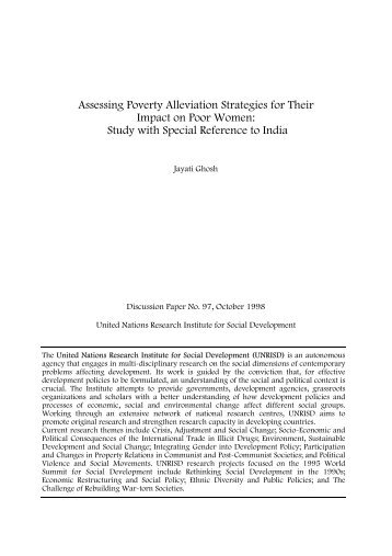 Assessing Poverty Alleviation Strategies for - United Nations ...