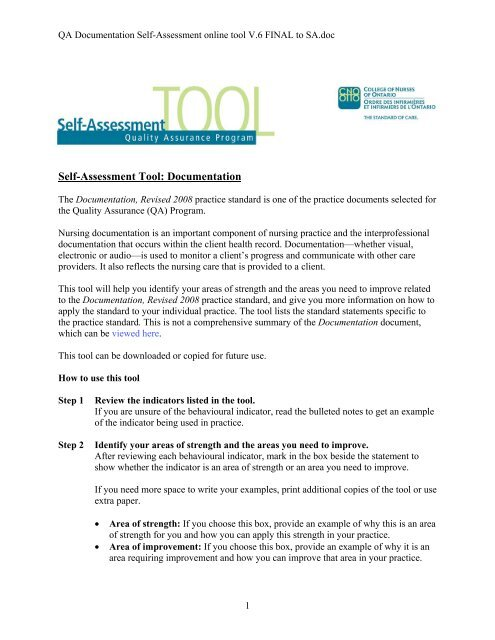 Self-Assessment Tool: Documentation - College of Nurses of Ontario