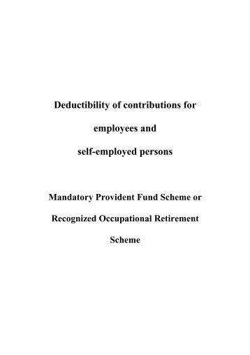 Deductibility of contributions for employees and self-employed ...