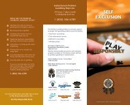 Self Exclusion brochure - Saskatchewan Indian Gaming Authority