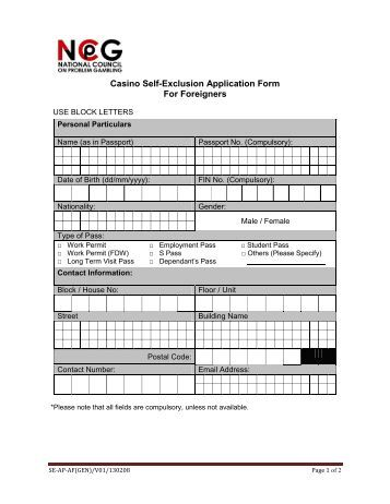 Casino self exclusion application form for foreigners