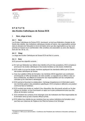 STATUTS des Ecoles Catholiques de Suisse ECS