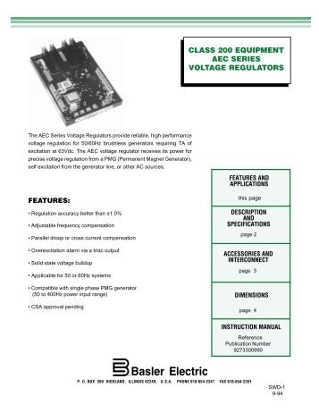 Vr63 4aul gen powercontrols class 200 equipment aec series voltage regulators asfbconference2016 Image collections