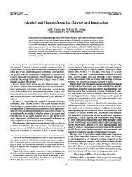 Alcohol and Human Sexuality: Review and Integration