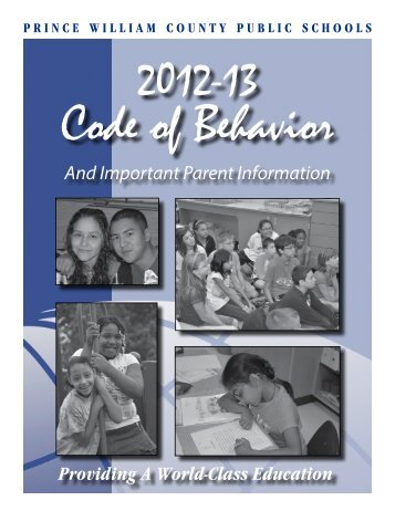 PWCS Code of Behavior - Prince William County Public Schools