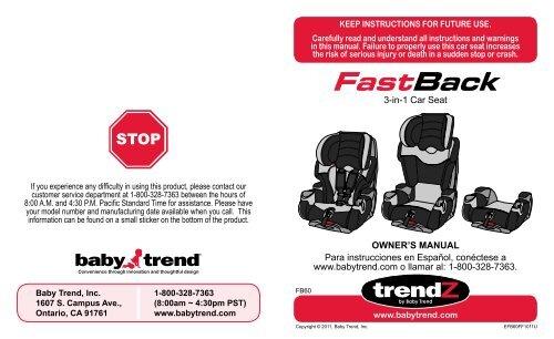 Fb60070 3 In 1 Car Seat Babytrend Com