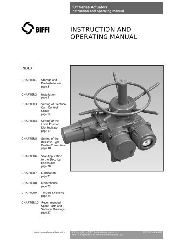 biffi icon 2000 instruction and operating manual