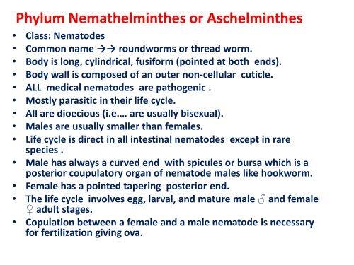 Clase de aschelminthes, Eliminarea parazitilor