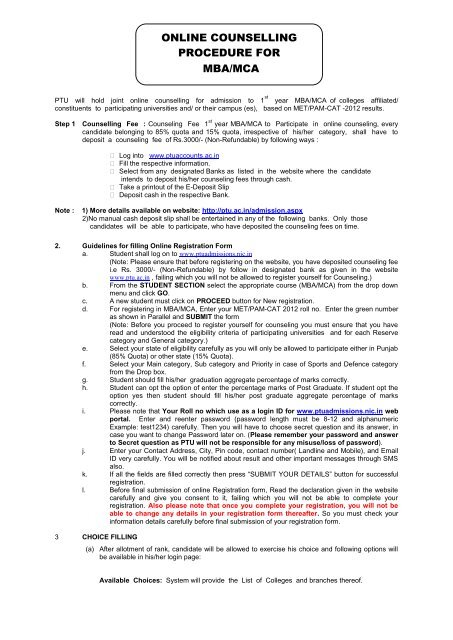deposit form mca  online counselling procedure for mba/mca - PTU Admission