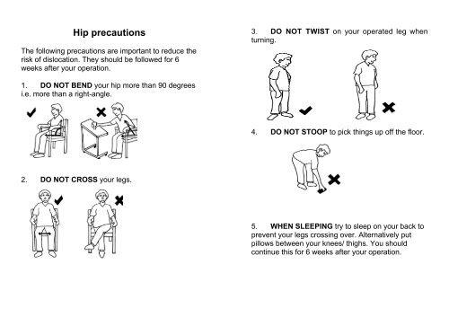 Hip precautions The follo