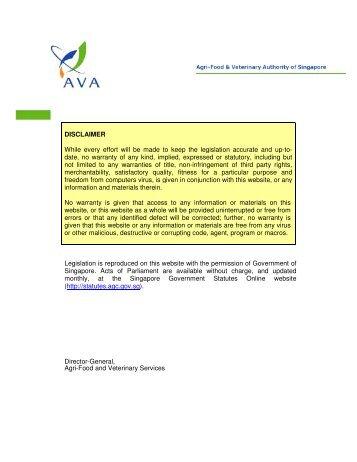 Food Regulations - Agri-Food & Veterinary Authority of Singapore