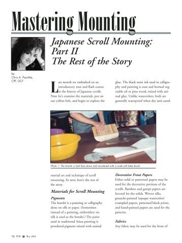 Japanese Scroll Mounting - Picture Framing Magazine