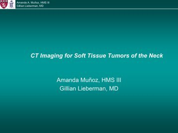 CT Imaging for Soft Tissue Tumors of the Neck