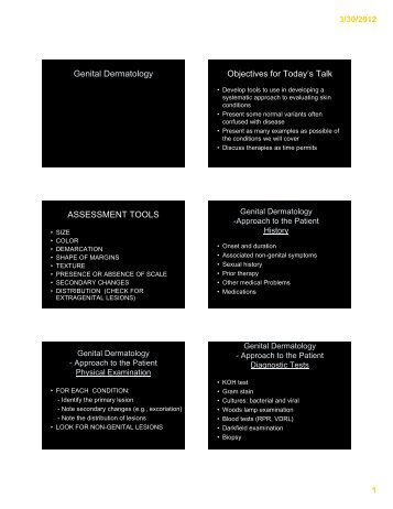 Genital Dermatology Objectives for Today's Talk ... - Cardea Services