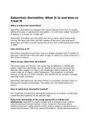 Seborrheic Dermatitis - Webstite del Dr. Jose Fernandez More