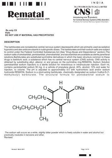 Rematal® CII Sodium Solution (pentobarbital sodium injection, USP)