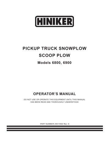 hiniker 700 manual snow plow stuff Hiniker Plow Wiring Harness pickup truck snowplow scoop plow hiniker hiniker plow wiring harness