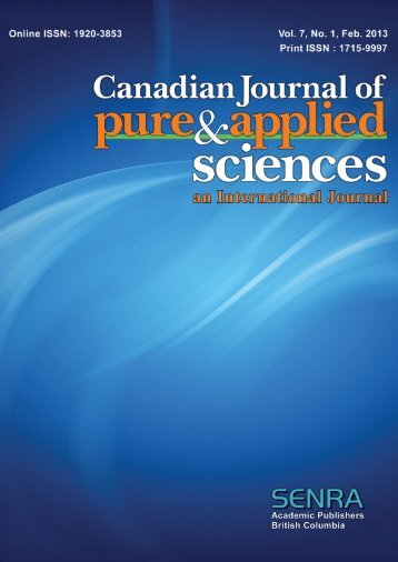 Current Issue - Canadian Journal of Pure and Applied Sciences