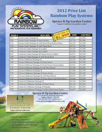 2012 Price List Rainbow Play Systems - Spruce It Up Garden Centre
