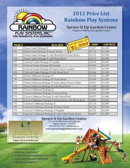 2012 Price List Rainbow Play Systems Spruce It Up Garden Centre