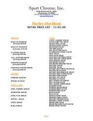 H-D RETAIL PRICE LIST - Sport Chrome