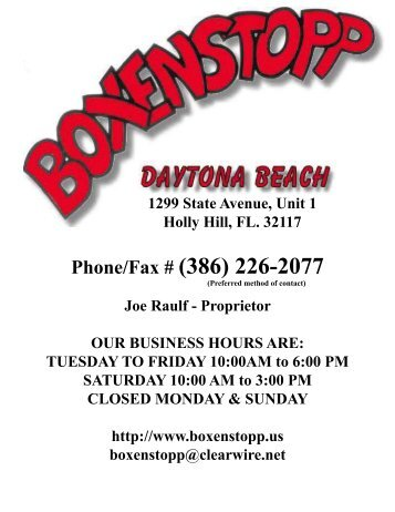Phone/Fax # (386) 226-2077 - Boxenstopp