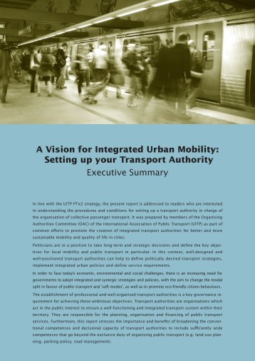 A Vision for Integrated Urban Mobility: Setting up your ... - UITP