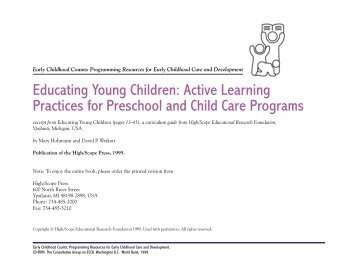 Educating Young Children: Active Learning Practices for Preschool ...