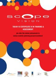 TAE40110 CErTifiCATE iV in TrAining & AssEssmEnT - Scope Vision