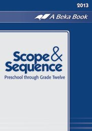 A Beka Book Homeschool Scope and Sequence 2013