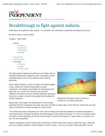 Breakthrough in fight against malaria - Science ... - The Read Group