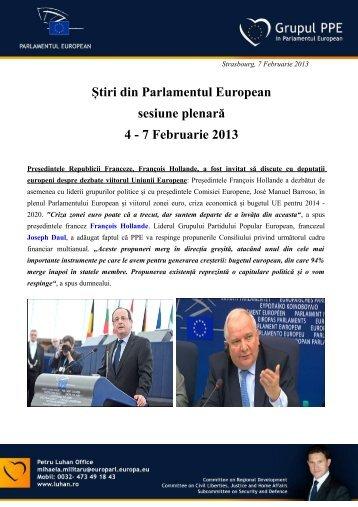 Știri din Parlamentul European sesiune plenară 4 - 7 Februarie 2013