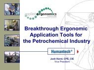 Breakthrough Ergonomic Application Tools for the Petrochemical ...
