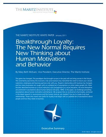 Breakthrough Loyalty: The New Normal Requires ... - Maritz Institute