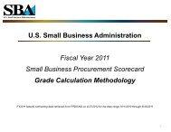 Scorecard Grade Calculation Methodology - SBA