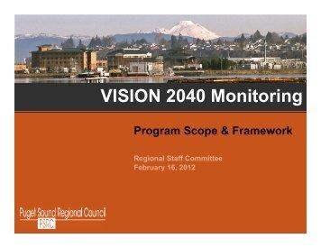 VISION 2040 Monitoring – Program Scope & Framework