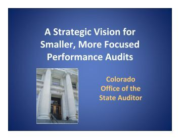 A Strategic Vision for Smaller, More Focused Performance Audits