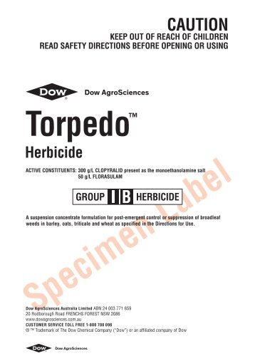 Torpedo Herbicide label - The Dow Chemical Company