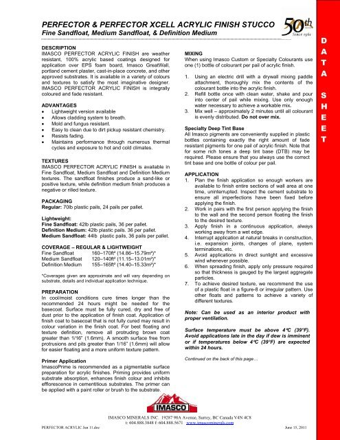 Perfector XCELL Lightweight Acrylic - Imasco Minerals Inc