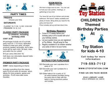 Birthday Party Brochure - School Crossing