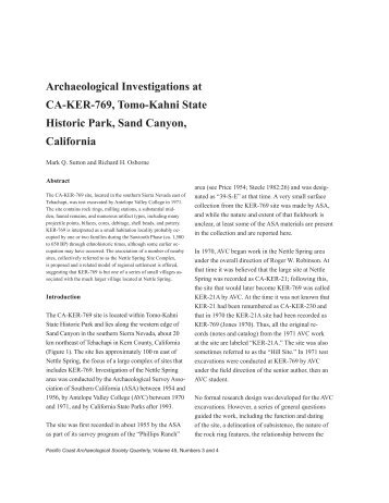 Archaeological Investigations at CA-KER-769, Tomo-Kahni State ...