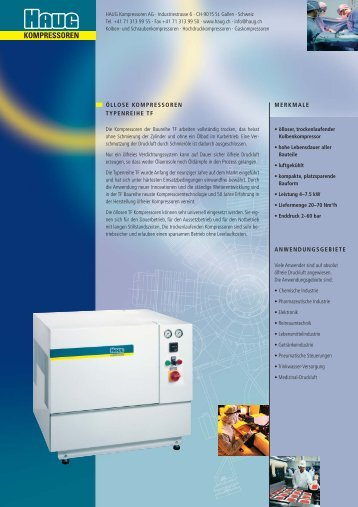 Prospekt Kolbenkompressor TF - HAUG Kompressoren AG