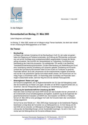 Einführungsschreiben - Gymnasium und FMS Münchenstein