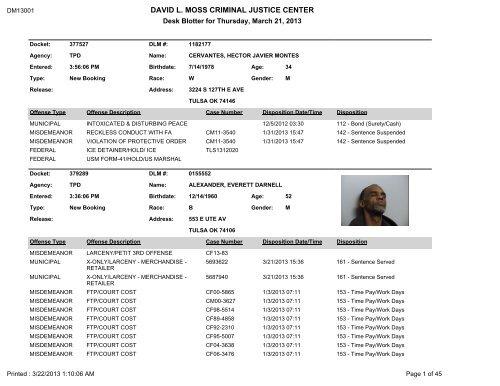 Desk Blotter Report Tulsa County Jail